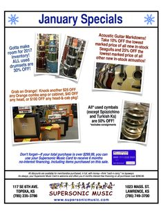 January Specials at Supersonic! Great offers on Orange amps & cabs, new acoustic guitars, and used drumsets & cymbals!