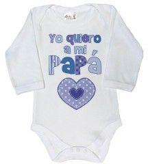 Dirty Fingers, Yo quiero a mi papá, Bebés Body con manga larga, color blanco, 6-12 meses