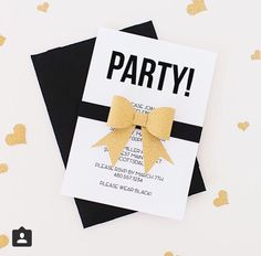 Black and now party invitation.