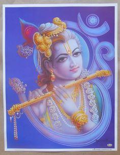 Hindu Deity God Krishna Whit Flute Print In India (S96)
