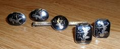 Vintage Lot Siam Niello Dancers Cufflinks / Tie Clasp * Sterling Silver * Nice