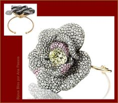 The Lily Safra sale catalogue.    Camellia Bracelet 1995, with central old cut diamond with 13.03 carats of pave diamonds and pink white and yellow gold.