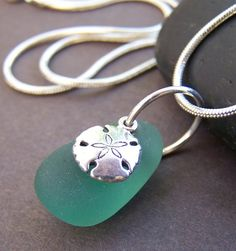 Sea Treasure Sea Glass Pendant - Sterling Silver Sand Dollar Necklace