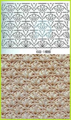"♥A ""crochet stich, perfect for mermaid tail!"", ""Another gorgeous crochet stich to try."", ""crochet - chart for fan stitch"", ""lots Beau Crochet, Mode Crochet, Crochet Diy, Crochet Motifs, Crochet Chart, Crochet Stitches Patterns, Crochet Diagram, Stitch Patterns, Crochet Solo"