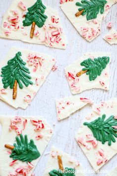 peppermint CHRISTMAS TREE WHITE CHOCOLATE BARK for an easy holiday dessert to make, eat, or give -- step-by-step instructions included