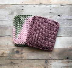 Crochet Sponge Kitchen Dishcloth Set Crochet Scrubbies Pink
