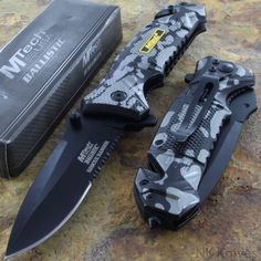 MTECH BLACK CAMO Aluminum Handle Folding Rescue Tactical Survival Pocket Knife | eBay