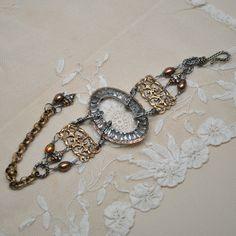 Queen of Mystique / Antique Georgian Paste Shoe Buckle Bracelet, by danettedarbonne Mom Jewelry, Punk Jewelry, Photo Jewelry, Jewelry Crafts, Jewelry Art, Beaded Jewelry, Vintage Jewelry, Jewelry Ideas, Filigree Jewelry