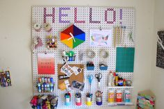 When Nick and I first started getting into our office makeover , I knew I wanted a pegboard to keep our space clean, pretty, and organize...