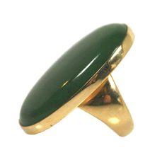 Georg Jensen Nephrite Jade and 18K Gold Ring No. 1090, ca. 1960s
