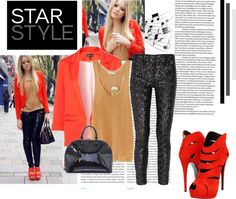 """Orange Blazer - Kristina Bazan"" by maipessa ❤ liked on Polyvore"