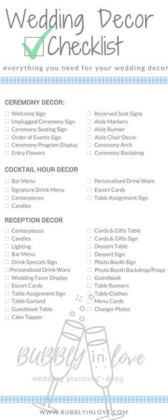Wedding Decor Checklist | Wedding Decor | Ceremony Decor | Reception Decor | Cocktail Hour Decor | Wedding #weddingdecoration #weddingdecorations