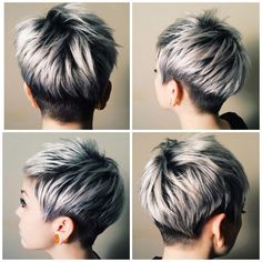 20 Trendy graue Frisuren – graue Haare Trend & Balayage Hair Designs - All About Hairstyles Longer Pixie Haircut, Short Pixie Haircuts, Pixie Hairstyles, Short Female Haircuts, Hairstyles Haircuts, Short Gray Hairstyles, Fringe Hairstyles, Ladies Hairstyles, Wedge Hairstyles