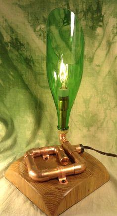 REDEEMED Glass By Kim - Copper bottle lamp