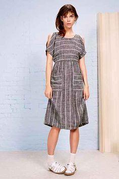 Cooperative Button-Back Cold-Shoulder Midi Dress