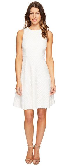 Donna Morgan Sleeveless Chevron Lace Fit and Flare with Full Skirt (Whitecap Grey/Hydrangea/Navy Multi) Women's Dress - Donna Morgan, Sleeveless Chevron Lace Fit and Flare with Full Skirt, D4935M-101, Apparel Top Dress, Dress, Top, Apparel, Clothes Clothing, Gift - Outfit Ideas And Street Style 2017