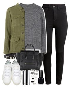 """""""outfit for winter with a military jacket and white sneakers"""" by ferned ❤ liked on Polyvore featuring H&M, MANGO, Topshop, Yves Saint Laurent, The Kooples, MICHAEL Michael Kors and OPI"""
