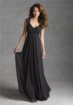 Black lace and chiffon V-Neck bridesmaid dress | 693 from Mori Lee By Madeline Gardner Bridesmaid Dresses