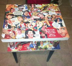 The greatness of Mod Podge on a retro table! Decoupage Furniture, Recycled Furniture, Cool Furniture, Game Room Bar, Retro Table, Glitter Crafts, Upcycled Vintage, Fun Crafts, Diy Projects