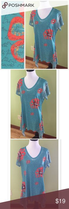 """Kristine Floral Tunic with Lace Sleeves + Accents Gorgeous and Unique Floral Tunic by Kristine. Featuring lace sleeves and hem, this top is 95% polyester and 5% spandex. Bust measures 19.5"""" across; Length 31"""". EUC Kristine Tops Tunics"""