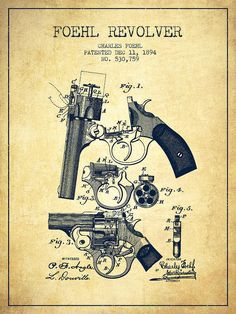 Pistol Poster featuring the drawing Foehl Revolver Patent Drawing From 1894…
