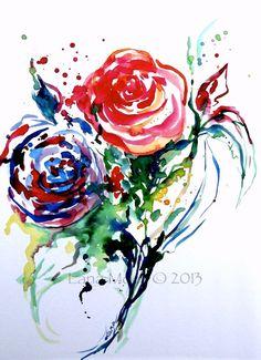 Watercolor Flower Roses Original  Illustration -  Original Watercolor Painting