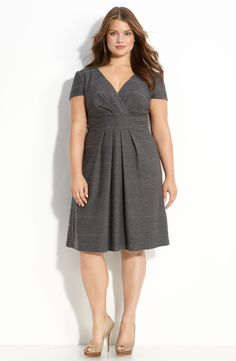 Free shipping and returns on Eliza J Textured Knit Dress (Plus) at Nordstrom.com. Raised stripes texture a flattering fit-and-flare dress styled with a surplice bodice and an exposed goldtone zipper closing the back.