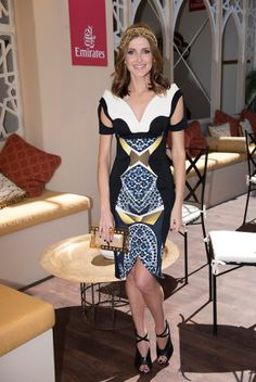 Kate Waterhouse wearing Peter Pilotto at the Melbourne Cup.
