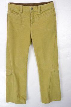 Athleta Dipper Corduroy Pants Sz 4 31x30 Sand Beige Cargo Pockets Boot Cut #Athleta #Corduroys