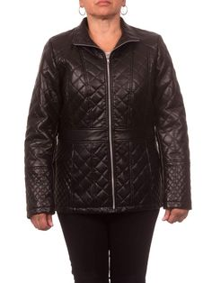 cd11b137d Women s Plus Size Faux Leather Diamond Quilted Zip-Front Jacket