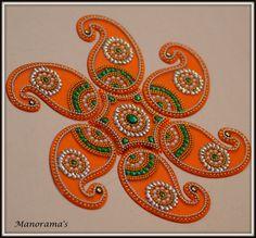 Floor Art  Orange Kundan Rangoli Green and by ManoramasJewellery