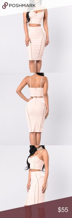 7023dccf8e The Other Side Set - Blush Available in Blush 2 Piece Set Crop Top and Midi