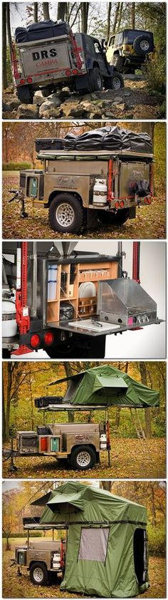 Could be an interesting add on to the Jeep. All Terrain Cam… Interesting concept. Could be an interesting add on to the Jeep. All Terrain Camping Trailer by Campa USA Camping Jeep, Off Road Camping, Camping And Hiking, Camping Survival, Outdoor Camping, Yosemite Camping, Jeep Camping Trailer, Motorcycle Camping, Camping Cabins