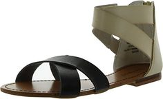 Bamboo AMBRA18 Leatherette Strappy Two Tone Colorblock Gladiator Flat Sandal *** See this great product.