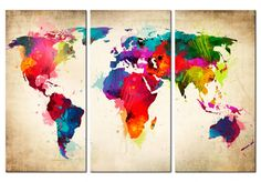 Colorful World Map Frameless Canvas Print Mural Painting Home Decoration - Wall Stickers, Decal, Murals, Self adhesive Paper Art Mural Painting, Painting Prints, Canvas Prints, 3d Mirror Wall Stickers, World Map Canvas, Photo Images, Red Tree, Pictures To Paint, Abstract Canvas
