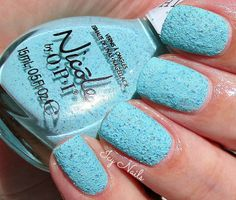 Icy Nails. Nicole by OPI On What Grounds? Pretty robin's egg blue textured base with blue glitter bits. Fab formula. Love! #NicolebyOPI #nailpolish #nails #texture #manicure #beauty #bblogcoalition #bblogger #bbloggers #icynails via @Erika Costello (erikatheicyone)