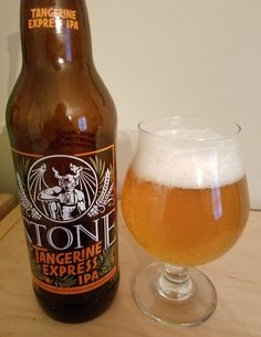 Stone Tangerine Express (A)IPA is 6.7 ABV and 75 IBU, hops include Citra, Centennial, Sterling, Azacca and Mosaic.  The appearance is orange and the nose citrus hop.  The taste is sweet malt with a strong citrus hop and pithy zest finish enhanced by the tangerine and pineapple puree.  Mouthfeel is moderate and drinkable  It has a juicy character but still won't be confused for anything but a west coast IPA.  Very nice, I'm enjoying the bitter tangerine peel flavor that lingers on the palate.