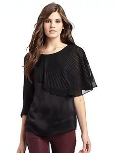 BCBGMAXAZRIA Silk Satin Seamed Top