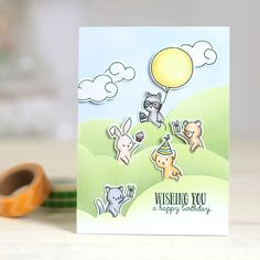 """""""Going Places"""" is a 4 x 6"""" set containing 21 individual stamps; 15 images and 6 sentiments. These adorable critters are ready to send encouraging messages or ju"""