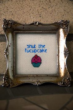 Mini Framed Shut The Fucupcakes Cross Stitch by RagingStitches, $15.00