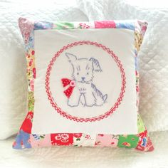 hopscotch lane: Puppy Embroidery Pillow