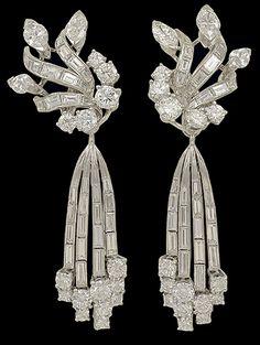 Platinum Diamond Earrings. Circa 1960s