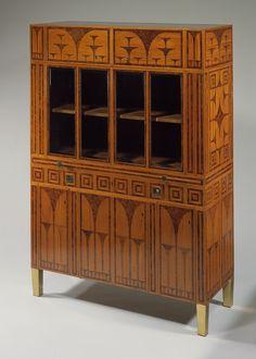 Vienna Bookcase by Caspar Hrazdil, 1903, Thuya and lemon wood, brass, and glazed glass