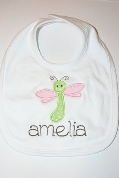 Applique Bib  Dragonfly by harborbluedesigns on Etsy, $13.99