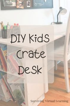 It's about to get real. If your kids haven't started school yet, get ready! Virtual learning is inevitable this year and home environment is key in order for your child (and you!) to be successful. Click for this DIY desk tutorial that's super easy. Woodworking Projects, Diy Projects, Outdoor Projects, Decorating Your Home, Diy Home Decor, Crate Desk, Rustic Picture Frames, Rustic Pictures, Diy Desk