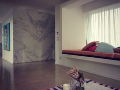 marble feature wall and nook