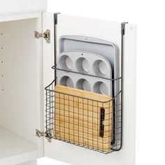 Put every inch of kitchen storage space to use with our over-the-cabinet grid or. - Put every inch of kitchen storage space to use with our over-the-cabinet grid organizer. Its rugged - Organizing Hacks, Home Organization, Diy Storage Hacks, Baking Organization, Small Kitchen Organization, Organising, Kitchen Furniture, Kitchen Decor, Kitchen Ideas