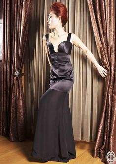https://www.cityblis.com/7451/item/16221  Evening Dress - Autumn/Winter '14 - $3272 by Giuseppe Tavano  Long evening dress with contrast between shiny top and matte bottom  100% silk satin  Couture production - Made in Italy