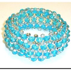 Elasticated Blue Bead Bracelet by ACD Jewellery etsy.com/shop/acdjewellery