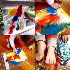 Indoor Painting in Zip Lock bags - perfect indoor clean play!!